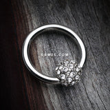 Pave Sparkle Full Dome Captive Bead Ring-Clear