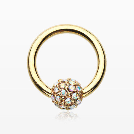 Golden Pave Sparkle Full Dome Captive Bead Ring-Aurora Borealis