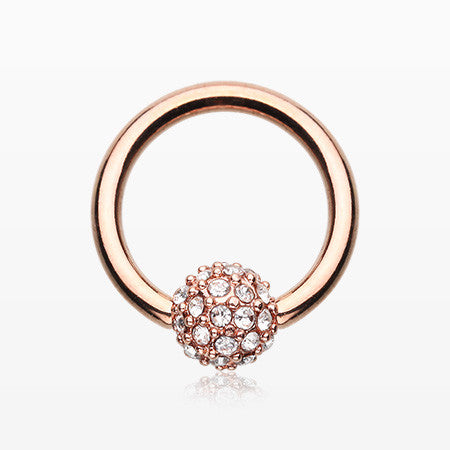 Rose Gold Pave Sparkle Full Dome Captive Bead Ring-Clear