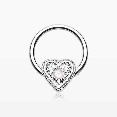 Opalescent Sparkle Heart Captive Bead Ring-White