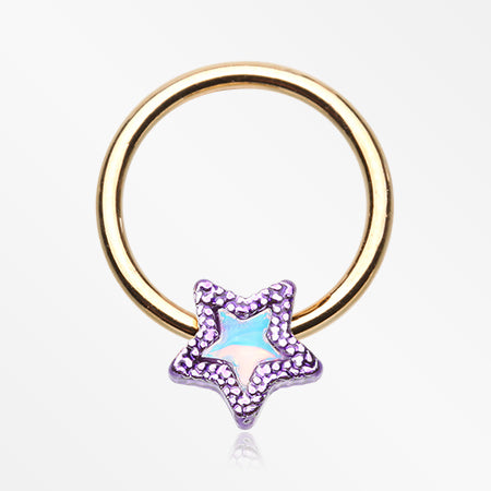Golden Iridescent Revo Adorable Star Captive Bead Ring-Purple
