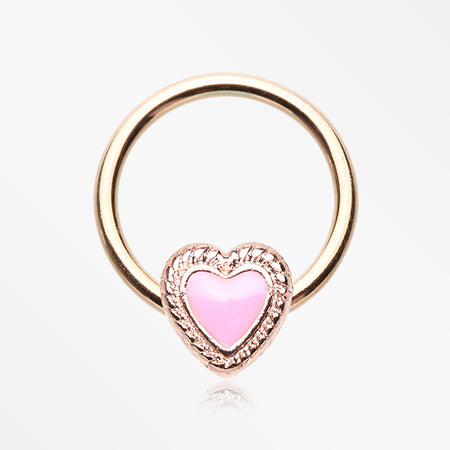 Rose Gold Valentine Lacey Heart Steel Captive Bead Ring-Pink