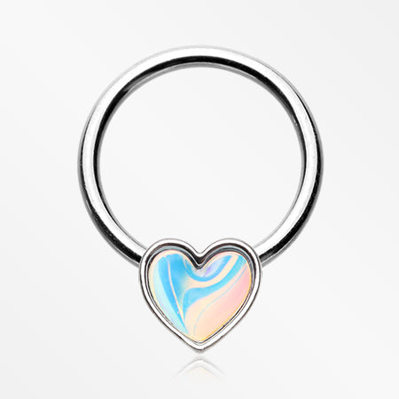Iridescent Revo Heart Sparkle Captive Bead Ring
