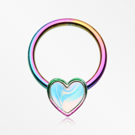 Colorline Iridescent Revo Heart Captive Bead Ring-Rainbow