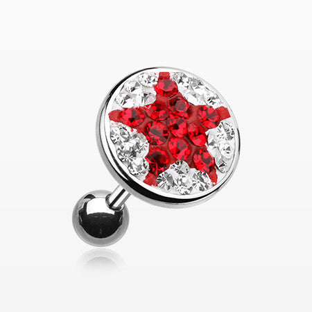 Shining Star Multi-Gem Cartilage Earring-Clear/Red