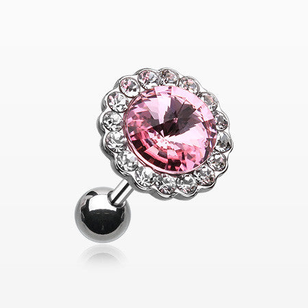 Studded Gem Crystal Cartilage Earring-Clear/Pink