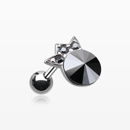 Crown Topped Gem Cartilage Earring-Hematite