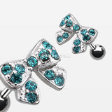 Dainty Bow Tie Cartilage Earring-Teal