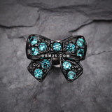 Blackline Dainty Bow Tie Cartilage Earring-Teal