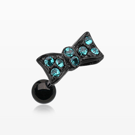 Blackline Flap Bow Tie Cartilage Earring-Teal