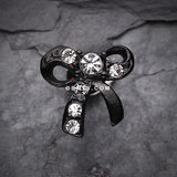 Blackline Lacy Bow Tie Cartilage Earring-Clear