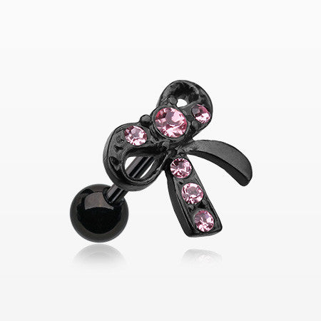 Blackline Lacy Bow Tie Cartilage Earring-Pink