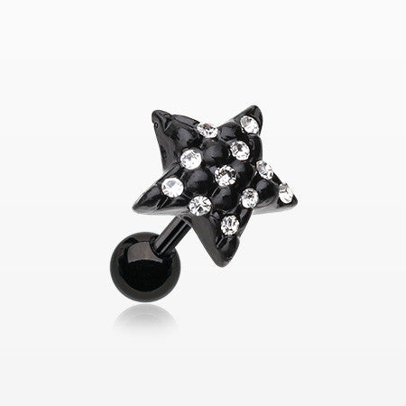 Blackline Star Multi-Gem Cartilage Earring-Clear