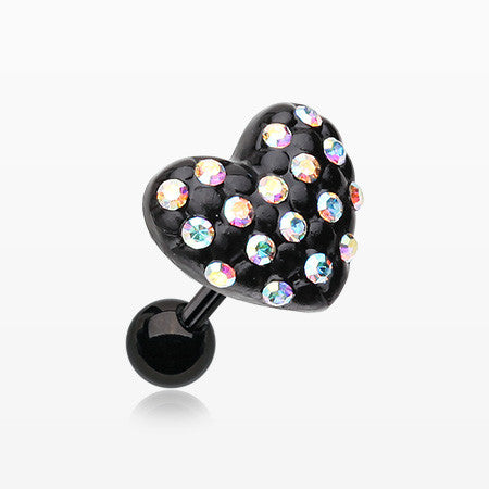 Blackline Heart Multi-Gem Cartilage Earring-Aurora Borealis
