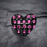 Blackline Heart Multi-Gem Cartilage Earring-Fuchsia