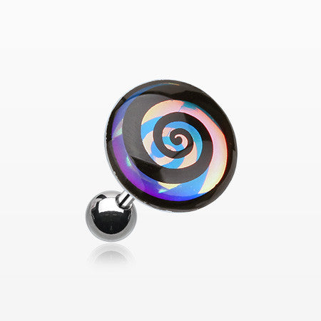 Chroma Flair Hypnotic Swirl Cartilage Earring-Rainbow/Multi-Color