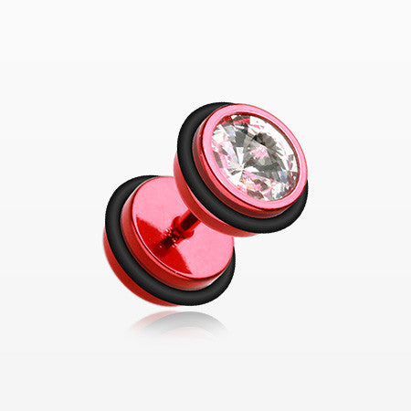 A Pair of Vibrant E-Coat Gem Top Fake Plug with O-Rings-Red/Clear