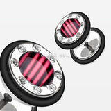 A Pair of Stripe Gem Rimmed Faux Gauge Plug Earring-Pink