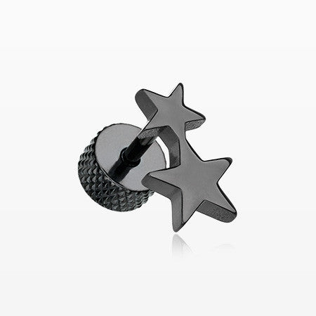 A Pair of Blackline Double Star Fake Plug Earring-Black