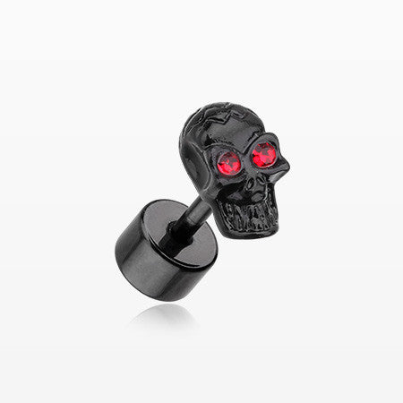 A Pair of Blackline Luster Skull Steel Fake Plug Earring-Red