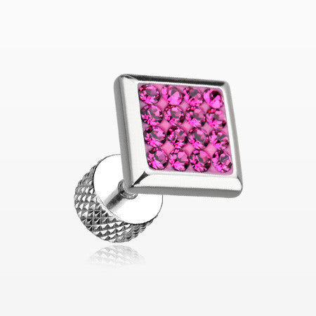 A Pair of Square Multi-Gem Sparkle Fake Plug Earring-Fuchsia