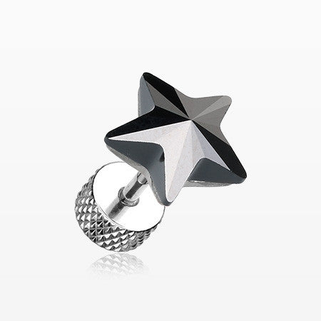 A Pair of Sparkle Star Gem Fake Plug Earring-Hematite