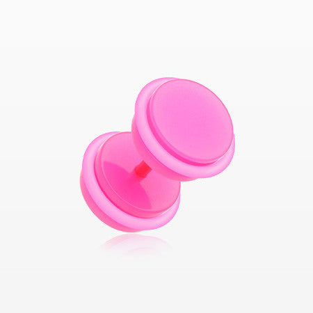 A Pair of Neon Acrylic O-Ring Faux Gauge Plug Earring-Pink