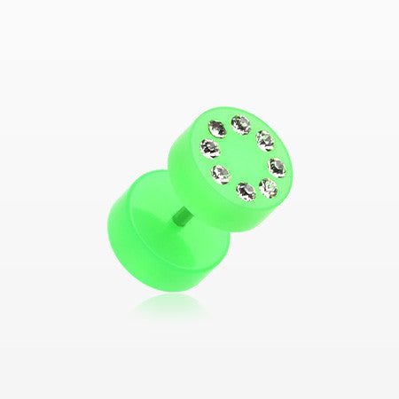 A Pair of Multi Gem Solid Acrylic Faux Gauge Plug Earring-Green