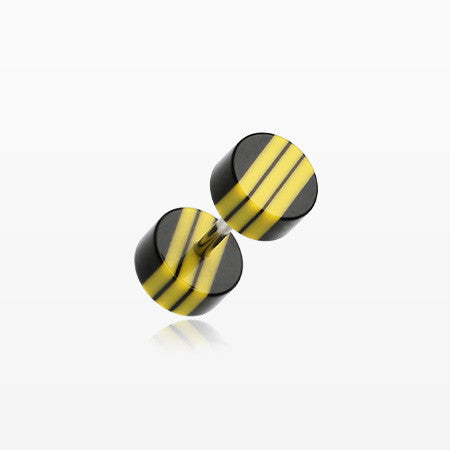 A Pair of Multi Stripe Acrylic Faux Gauge Plug Earring-Black/Yellow