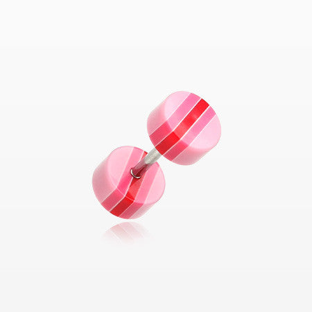 A Pair of Multi Stripe Acrylic Faux Gauge Plug Earring-Pink/Red