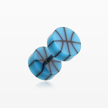 A Pair of Basketball UV Acrylic Faux Gauge Plug Earring-Blue