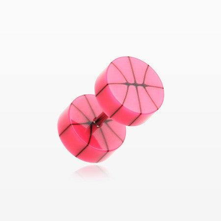 A Pair of Basketball UV Acrylic Faux Gauge Plug Earring-Pink