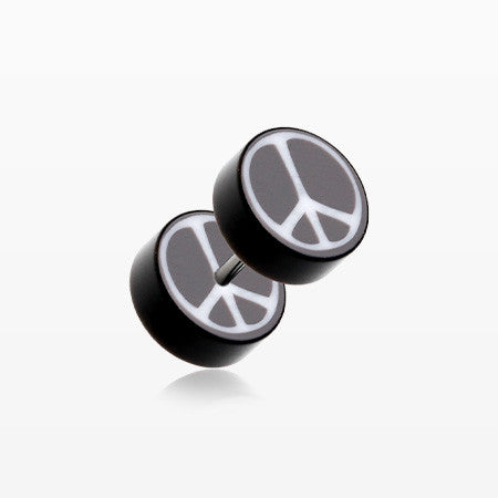 A Pair of Peace Retro UV Acrylic Faux Gauge Plug Earring-Black