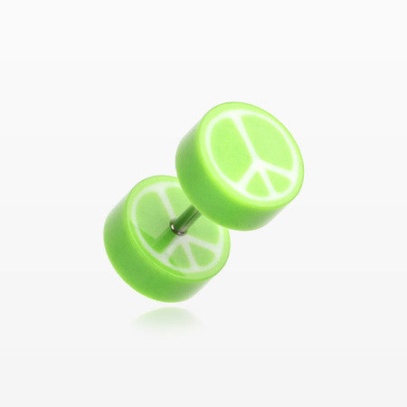 A Pair of Peace Retro UV Acrylic Faux Gauge Plug Earring-Green