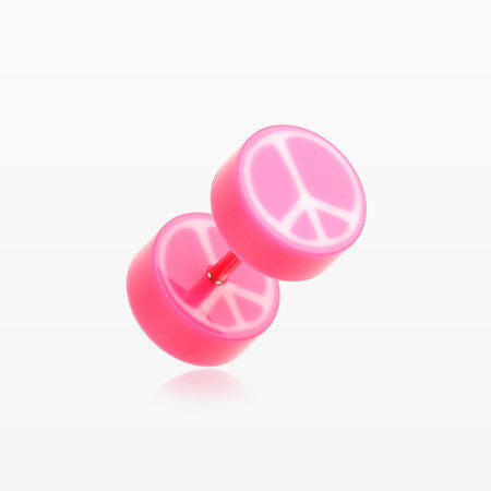 A Pair of Peace Retro UV Acrylic Faux Gauge Plug Earring-Pink