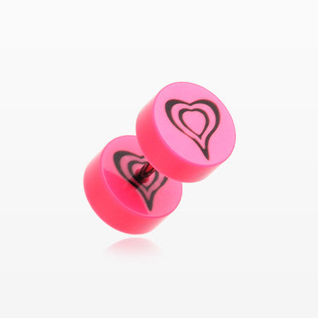 A Pair of Retro Heart UV Acrylic Faux Gauge Plug Earring-Pink