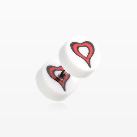 A Pair of Retro Heart UV Acrylic Faux Gauge Plug Earring-White/Red