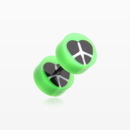A Pair of Peace Heart UV Acrylic Faux Gauge Plug Earring-Green