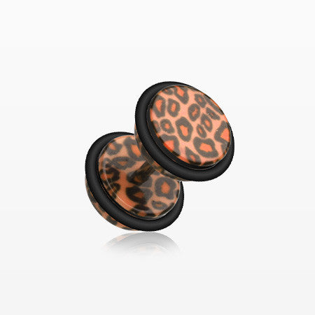 A Pair of Leopard Skin Acrylic Faux Gauge Plug Earring-Brown