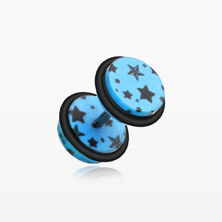 A Pair of Multi Star Print Acrylic Faux Gauge Plug Earring-Blue