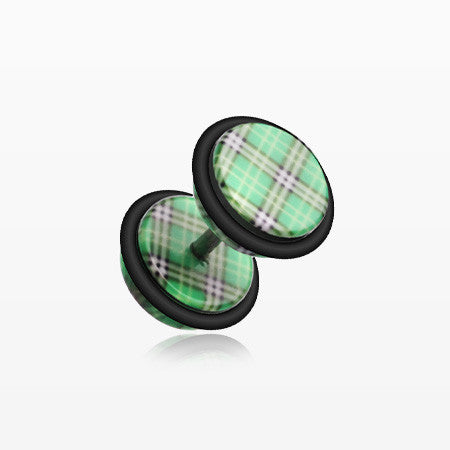 A Pair of Plaid Checkers Acrylic Faux Gauge Plug Earring-Green