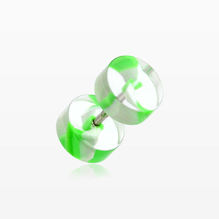 A Pair of Swirl Stripe UV Acrylic Faux Gauge Plug Earring-Green/White
