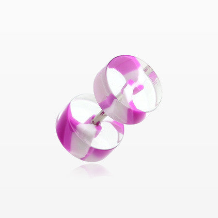 A Pair of Swirl Stripe UV Acrylic Faux Gauge Plug Earring-Purple/White