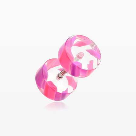 A Pair of Two Tone Stripe UV Acrylic Faux Gauge Plug Earring-Pink/Purple