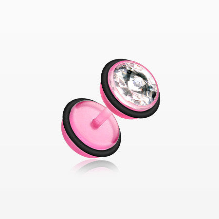 A Pair of All UV Crystalline Faux Gauge Plug Earring-Pink