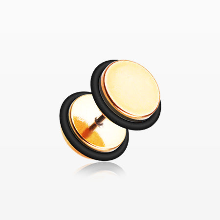 A Pair of Rose Gold Metallic Coat Acrylic Fake Plug with O-Rings