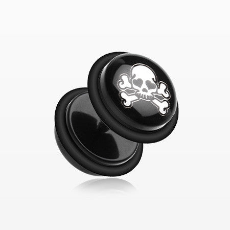 A Pair of Pirate Skull Acrylic Faux Gauge Plug Earring-Black