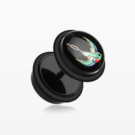 A Pair of Swallow Bird Acrylic Faux Gauge Plug Earring-Black