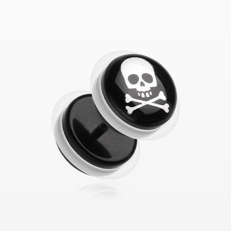 A Pair of Pirate Crossbone Acrylic Faux Gauge Plug Earring-Black