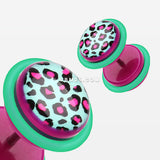 A Pair of Retro Leopard Acrylic Faux Gauge Plug Earring-Purple